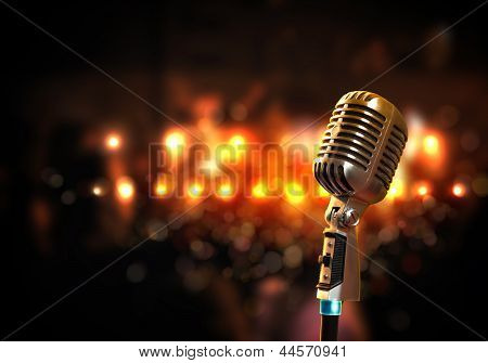 audio microphone retro style poster