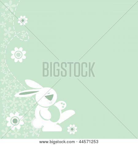 Cute Bunny Rabbit Floral Border