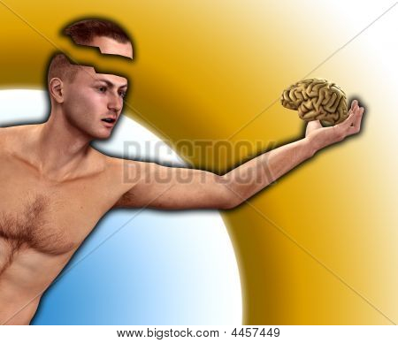 Man Holding His Mind