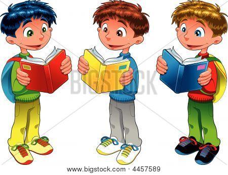 Tres niños leyendo