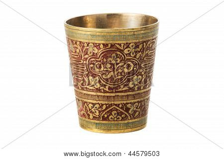 Bronze Cup With Ornament On A White Background
