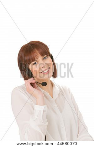 Smiling Woman Talking On A Headset
