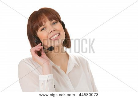 Smiling Office Worker Wearing A Headset