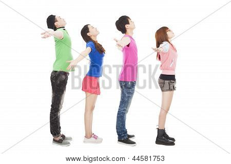 Happy Young Group With Relaxed Gesture