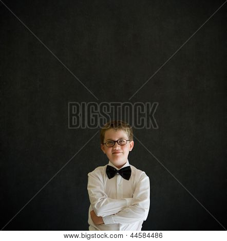 Arms Folded Boy Dressed Up As Business Man
