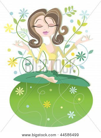 Serene Yoga Woman - Peace on Earth