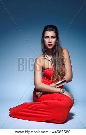 Beautiful Fashion Young Woman In Red Dress