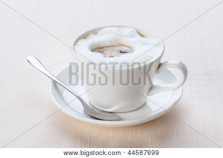 soup of puree in a white cup