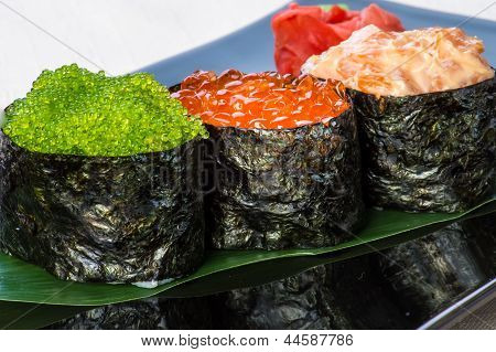 Three types of caviar.