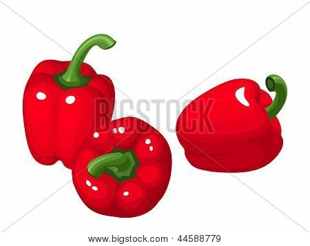 Three red bell peppers. Vector illustration.