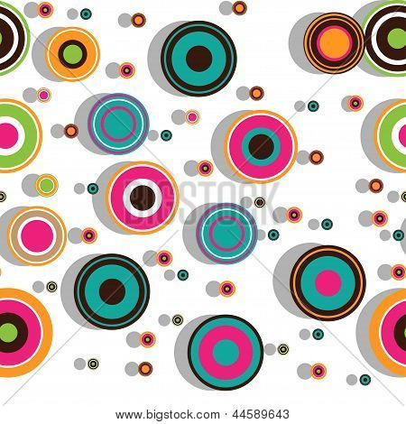 Colorful seamless pattern with concentric circles