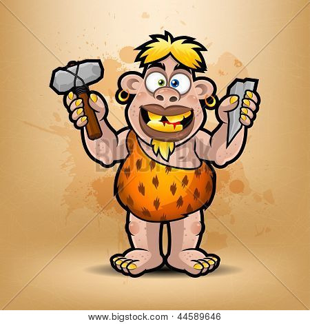 Neanderthal holds stone and hammer
