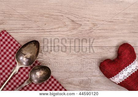 Silver Spoon And Table Cloth With Heart