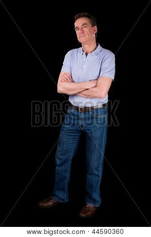 Grumpy Frowning Irritated Man Arms Folded