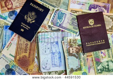 Three Passports And Currency