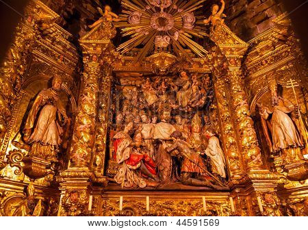 Sculpted Wooden Altarpiece Mercedarian Order Catholic Basilica Barcelona Cathedral Catalonia Spain