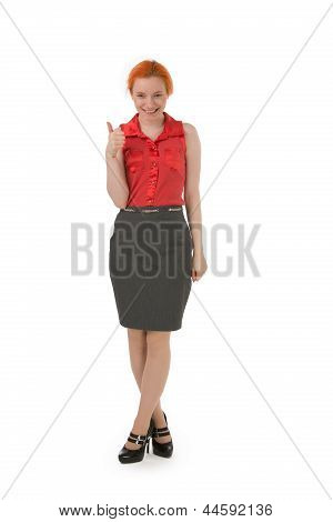 Happy Young Woman Giving A Thumbs Up