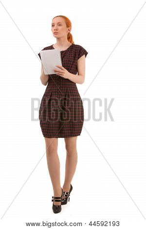 Young Woman Standing Thinking