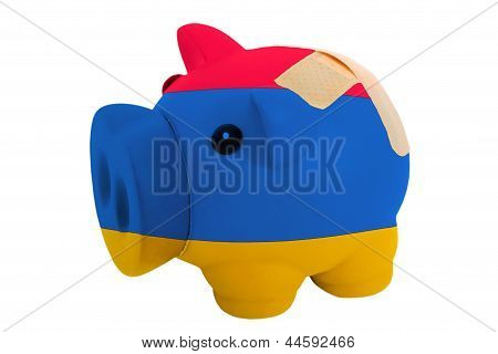 Closed Piggy Rich Bank With Bandage In Colors National Flag Of Armenia