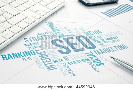 Seo Business Concept Cloud Chart Print Document.