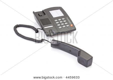 Black Office Telephone Off Hook