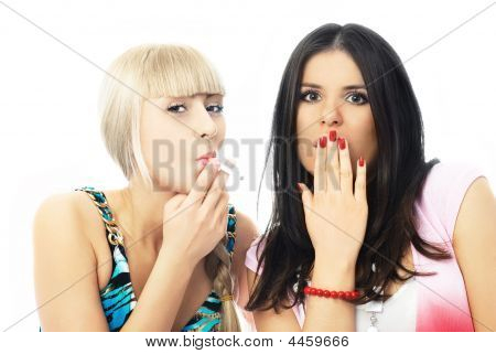 Portrait Of Two Girls One Of Which Is Smoking A Cigarette