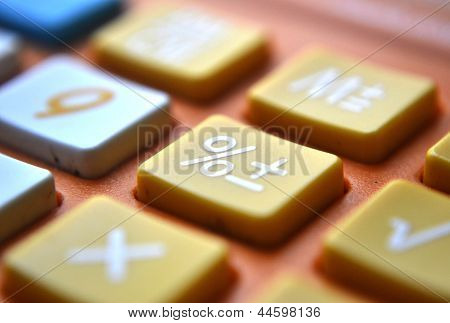 Calculator close-up shot focus on percentage