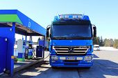 Blue Mercedes Benz Actros Heavy Duty Truck