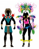 picture of beauty pageant  - Vector Illustration Colorful Couple for Carnival Costume Silhouettes with a man and a woman - JPG