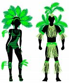 foto of monokini  - Vector Illustration Couple for Carnival Green Costume Silhouettes with a man and a woman - JPG