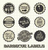 stock photo of t-bone steak  - Collection of retro style barbecue labels and icons - JPG
