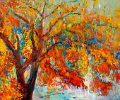 stock photo of acrylic painting  - Original oil painting showing beautiful Autumn tree - JPG