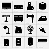 pic of convection  - Set of home appliances on light background - JPG