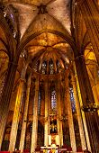Stone Columns Catholic Basilica Barcelona Cathedral In Catalonia Spain