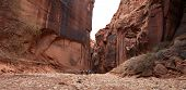 foto of buckskin  - Backpackers make their way through the giant sandstone wall that tower above them in Buckskin Gulch Utah - JPG