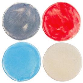 picture of raku  - Handmade glazed pottery circles isolated on white - JPG