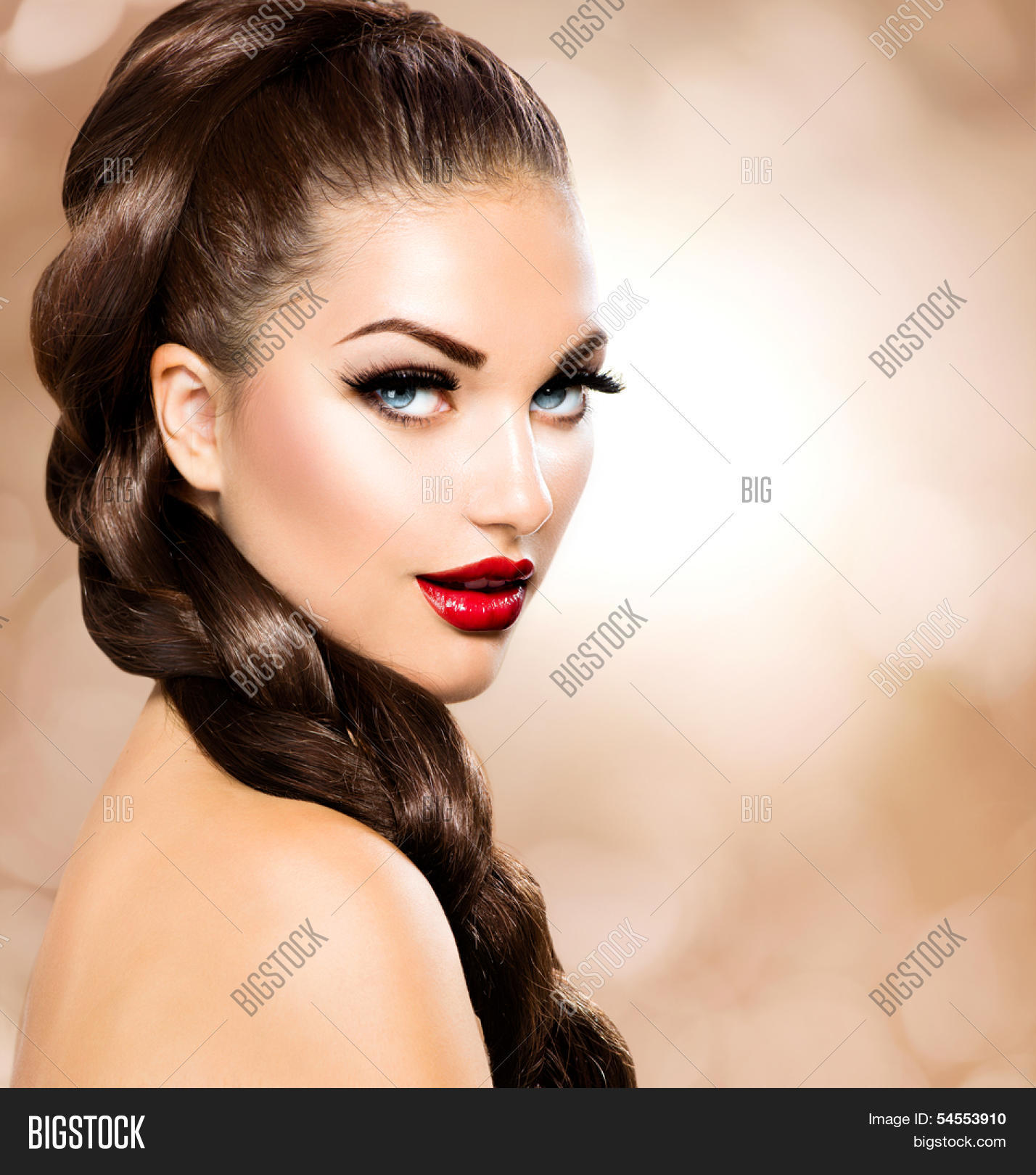 Stock Photo Hair Braid Beautiful Woman With Healthy Long Brown Hair Ha...