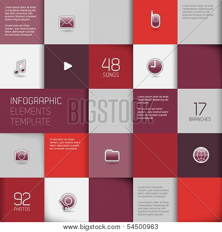 Flat design template with icons on purple tiled background.