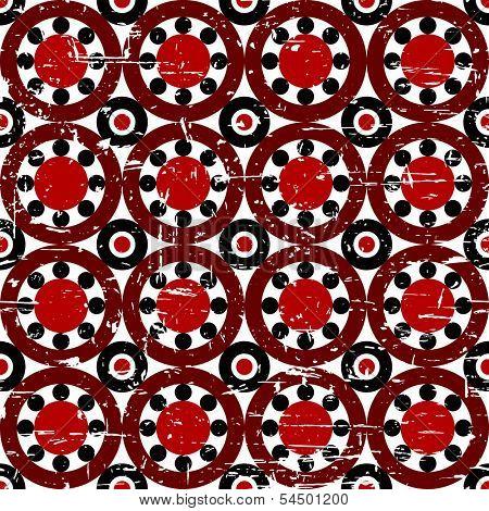 Seamless red and black grunge vintage geometric pattern