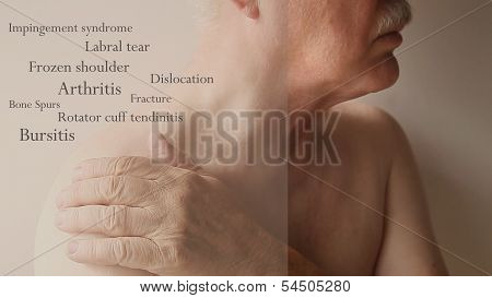 shoulder pain words on senior man