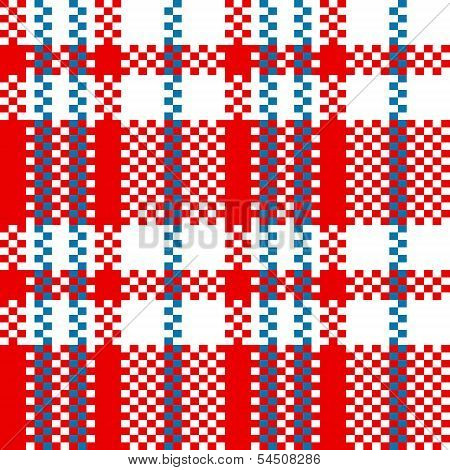Chinese plastic plaid checker bag in red and white seamless pattern, vector