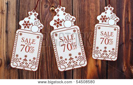 Three Christmas Cards With Christmas Sale 70 Percent Off Sign