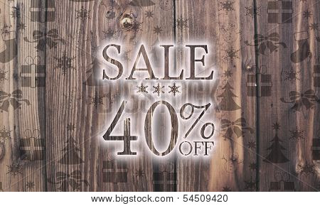Wooden Christmas Sale 40 Percent Off Label With Presents