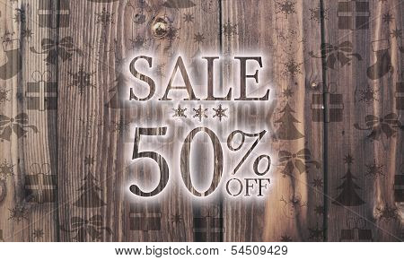 Wooden Christmas Sale 50 Percent Off Symbol With Presents