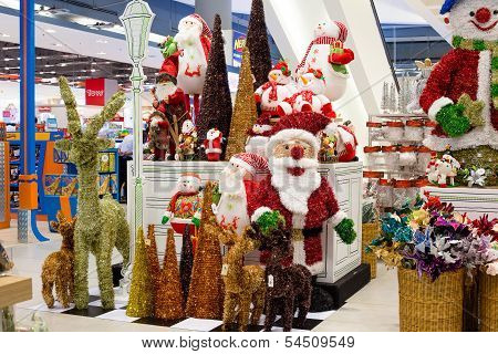 Rows Of Christmas Toys In A Supermarket Siam Paragon In Bangkok, Thailand.