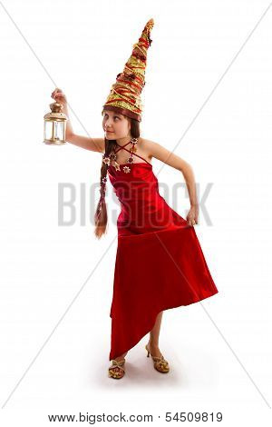 Christmas Girl In A Carnival Red Dress