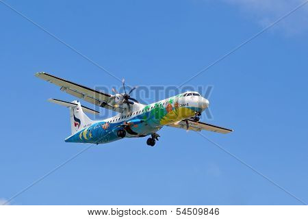 Flying An Airplane Airline Bangkok Airways Over The Island Of Koh Samui, Thailand.