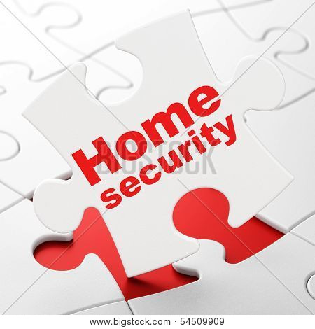 Safety concept: Home Security on puzzle background