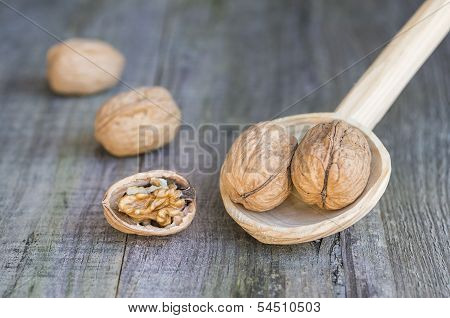 Nuts On Wooden Spoon