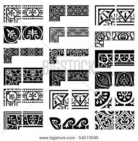 Borders and corners set. Baroque and classical style